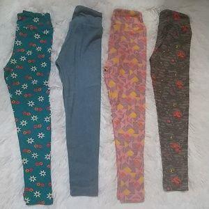 LuLaRoe Bottoms - NWOT LuLaRoe Lot of 4 girls leggings S/M 2-8